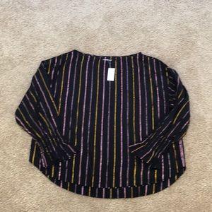 NWT! Lou & Grey striped  Black XL L/S Blouse
